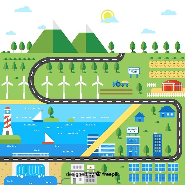 Città piatta sostenuta da energie rinnovabili Vettore gratuito