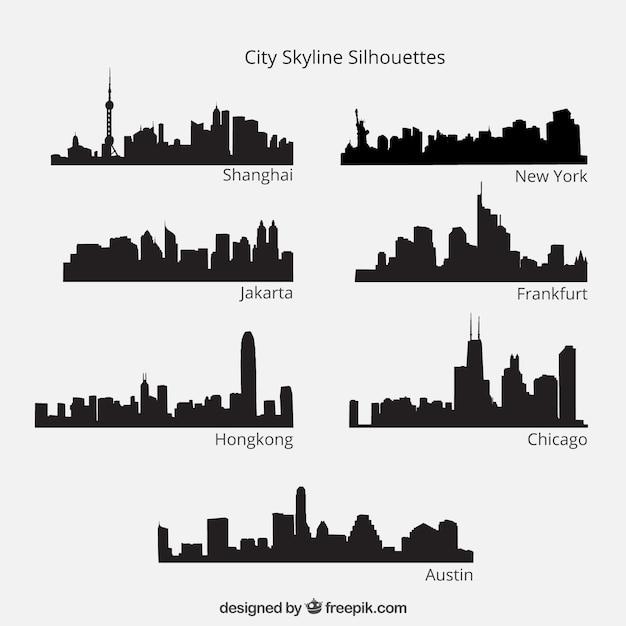 Città sagome skyline pacco Vettore gratuito