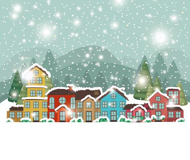 Città urbana nella scena di snowscape Vettore gratuito