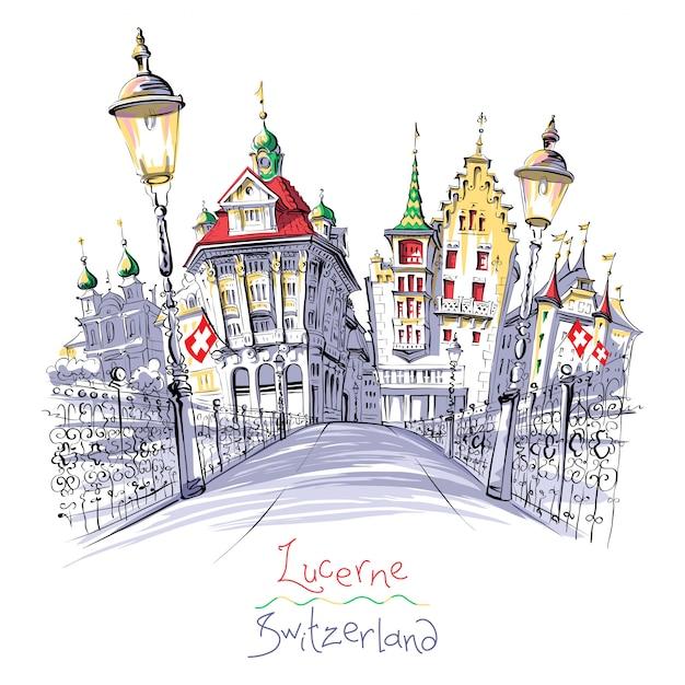 Città vecchia di lucerna, svizzera Vettore Premium