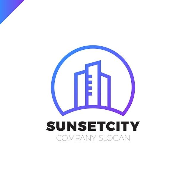 City in sun icon logo design element Vettore Premium