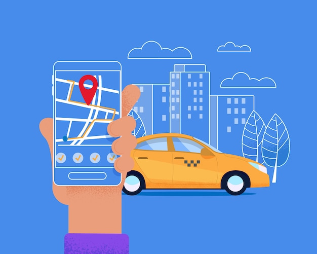 City mobile mobile service. layout urbano moderno. Vettore Premium