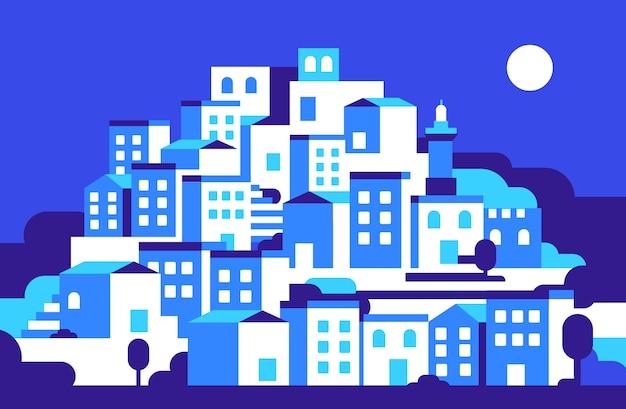 Cityscape a nithg Vettore Premium