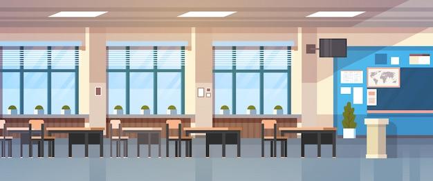 Class room empty school classroom con lavagna e banchi Vettore Premium