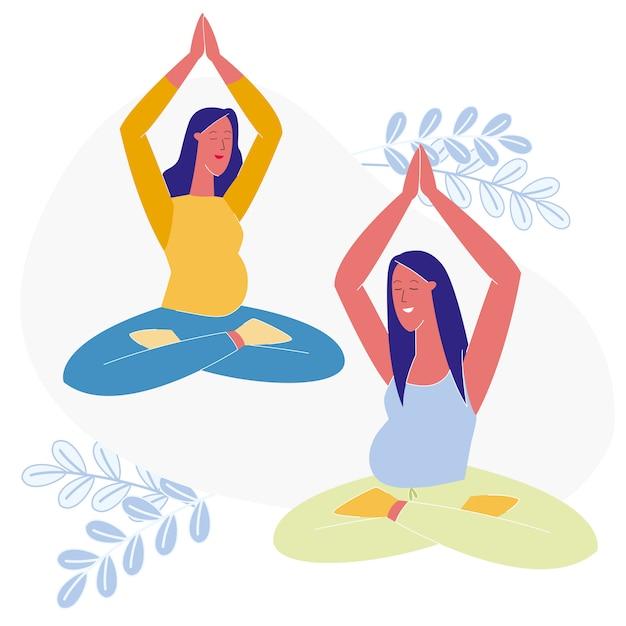 Classe di yoga per l'illustrazione di vettore piano incinta Vettore Premium