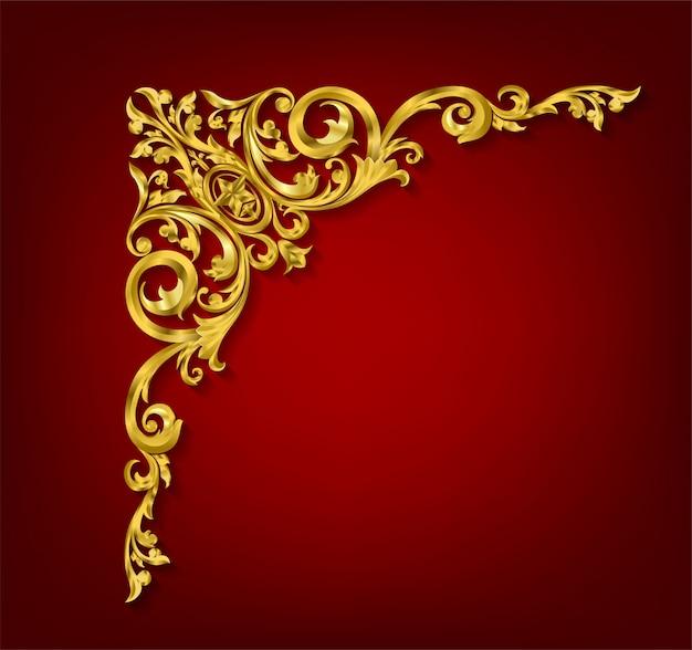 Classico elemento decorativo dorato in stile barocco Vettore Premium