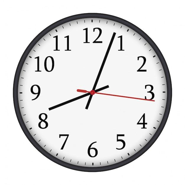 Classico orologio da parete rotondo bianco e nero Vettore Premium