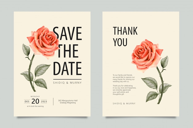 Classico salva la data e grazie carte con fiore rosa Vettore Premium