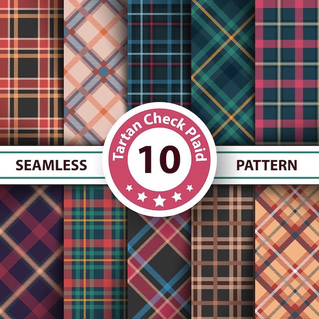 Classico scozzese, merry christmas check plaid seamless patterns Vettore Premium