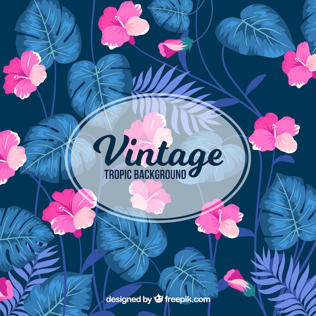 Classico sfondo tropicale con stile vintage Vettore gratuito