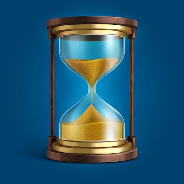 Clessidra realistica, timer orologio sabbia Vettore Premium