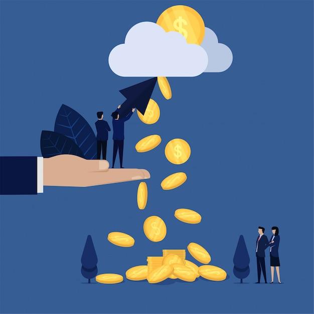 Clic della stretta dell'uomo d'affari e metafora di caduta delle monete della nuvola di puntamento di paga per clic. Vettore Premium