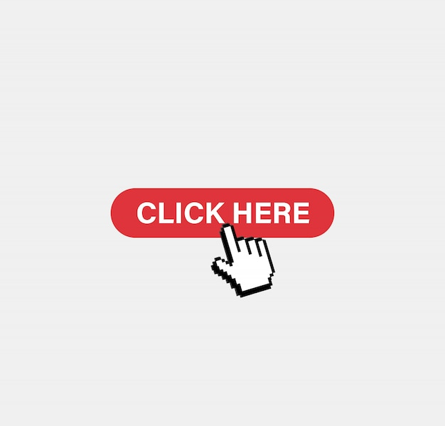 Clicca qui pulsante. cursore pixel Vettore Premium