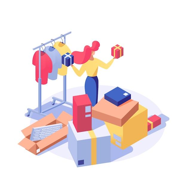 Cliente che compra prodotti isometrici Vettore Premium