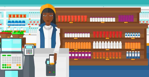 Cliente che paga con lo smartphone tramite terminale. Vettore Premium