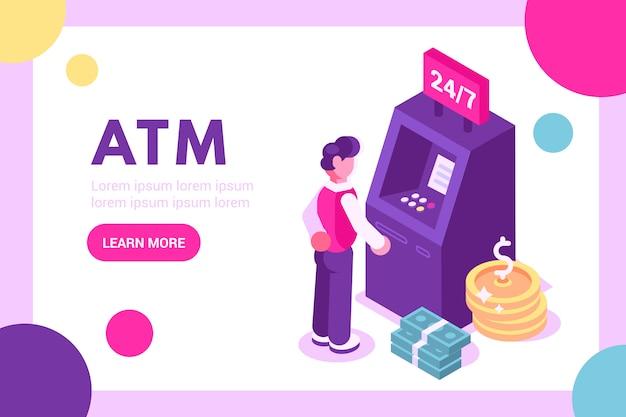 Cliente che sta il bancomat vicino e che tiene l'illustrazione della carta di credito Vettore Premium