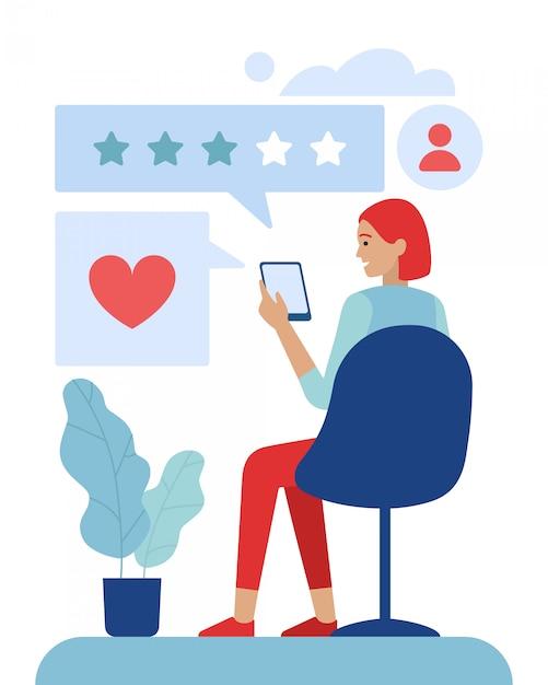 Cliente donna che utilizza un'applicazione di valutazione mobile Vettore Premium