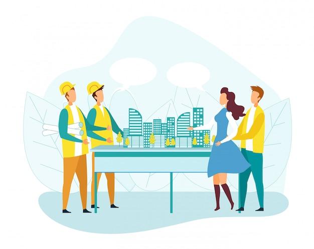 Clienti uomo e donna che visitano la società di costruzioni Vettore Premium