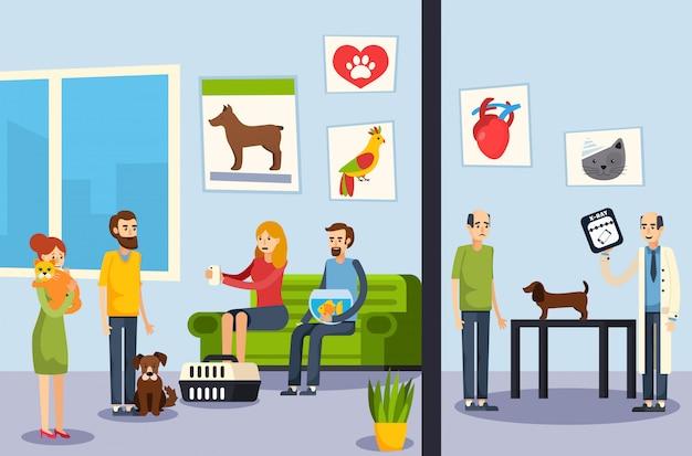 Clinica veterinaria poster ortogonale piatto Vettore gratuito