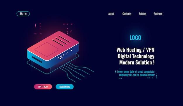 Cloud computing e grande icona isometrica di elaborazione dei dati digitali, router internet splitter, web online Vettore gratuito