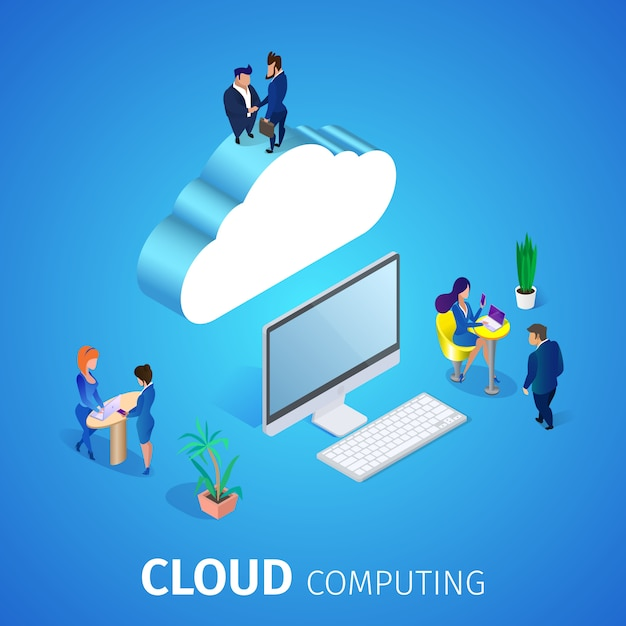 Cloud computing. servizio database. Vettore gratuito