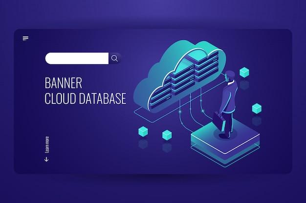 Cloud database, icona isometrica, cloud computing dati, uomo rimanere sulla piattaforma Vettore gratuito