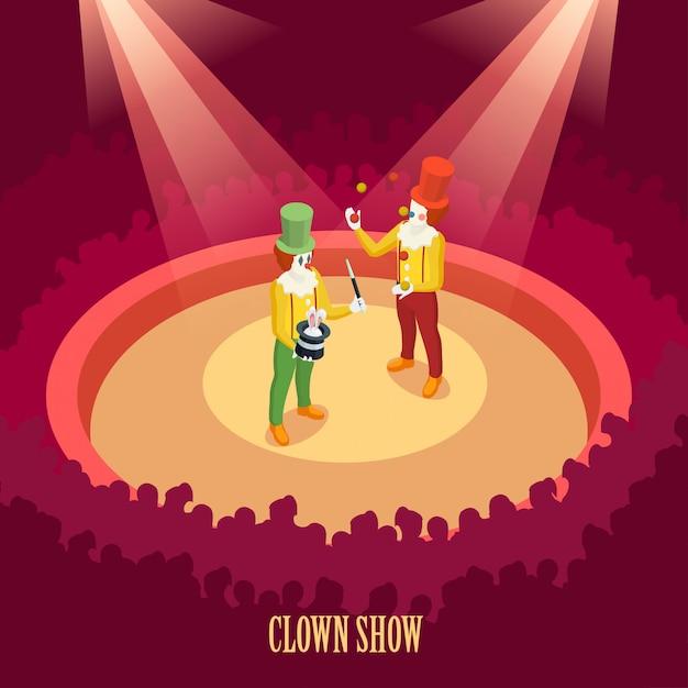Clown del circo mostra poster isometrico Vettore gratuito