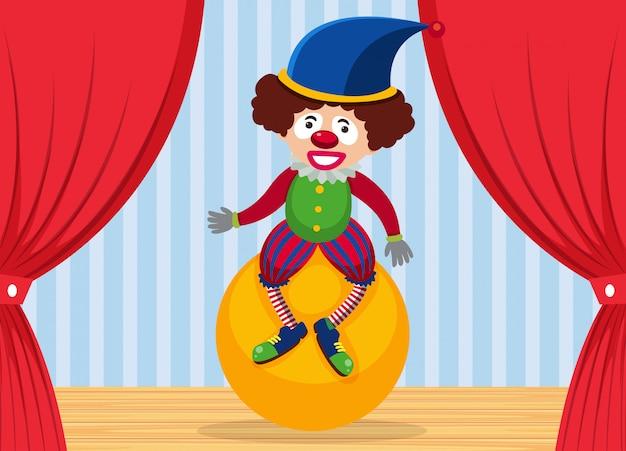 Clown del circo sul palco Vettore Premium