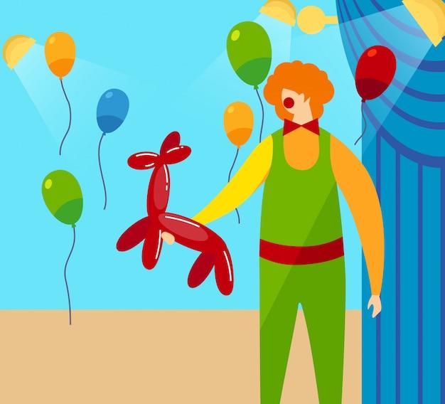 Clown holding in hands palloncino rosso a forma di cane Vettore Premium