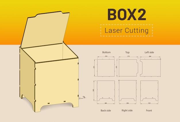 Cnc. scatola da taglio laser. Vettore Premium
