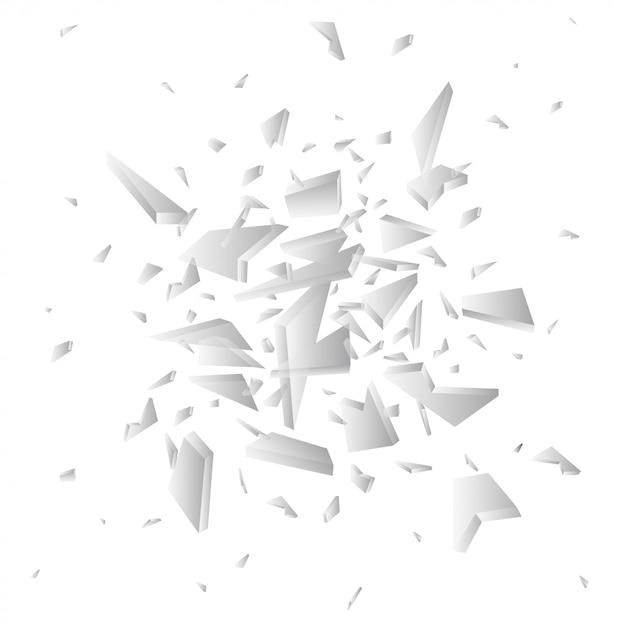 Cocci di vettore di vetro rotto. pezzi di vetro frantumati isolati su bianco Vettore Premium