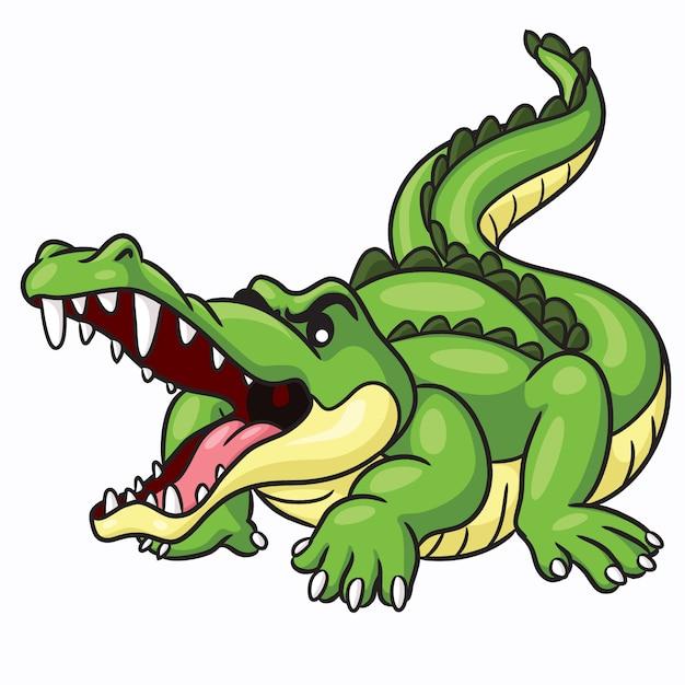 Coccodrillo cute cartoon Vettore Premium
