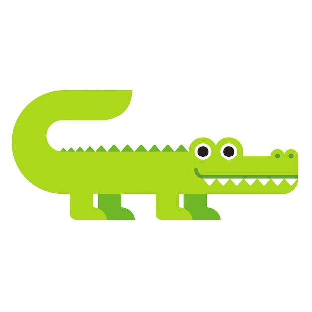 Coccodrillo simpatico cartone animato Vettore Premium