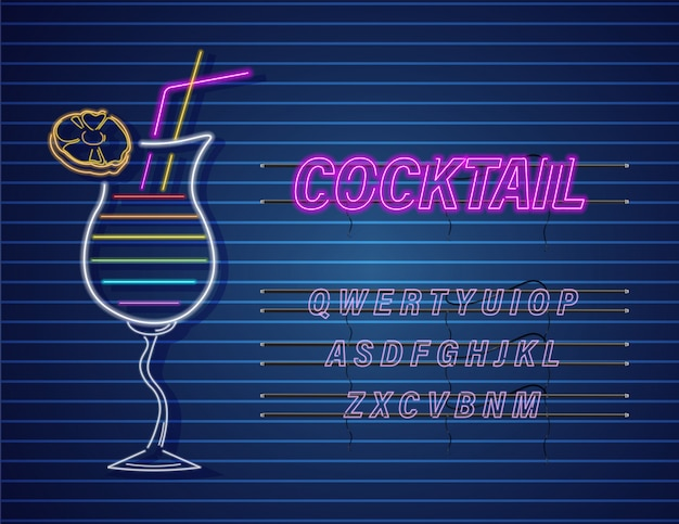 Cocktail al neon Vettore Premium