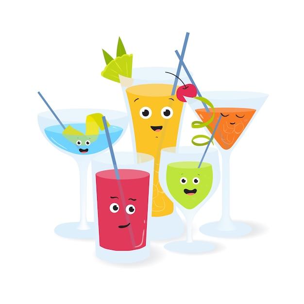 Cocktail alcolici in bicchieri con facce sorridenti divertenti. illustrazione varie bevande e bevande decorate con frutta e bacche. Vettore Premium