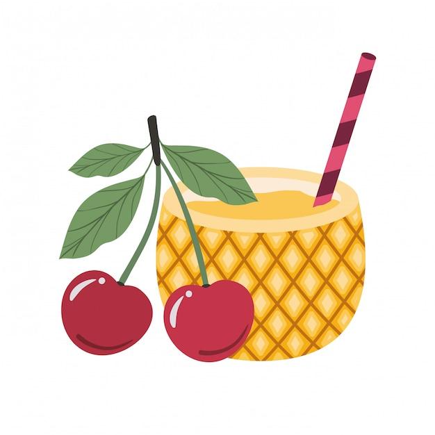 Cocktail di ananas per l'estate Vettore Premium