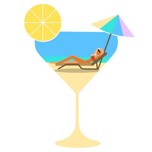 Cocktail estivo, festa, vacanza. ragazza in vetro sulla spiaggia sotto il parasole dal sole Vettore Premium