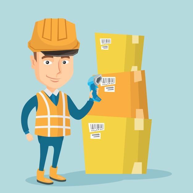 Codice a barre di scansione del lavoratore del magazzino sulla scatola. Vettore Premium
