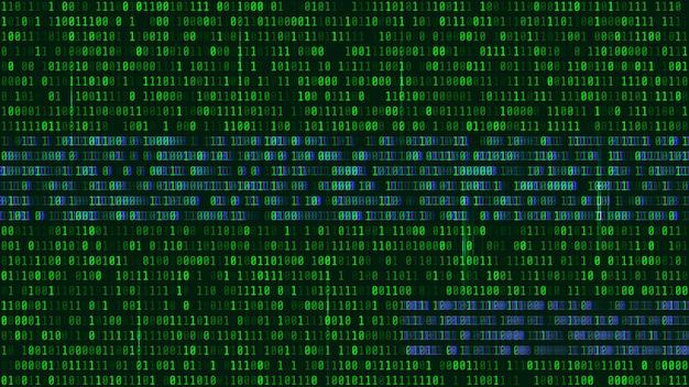 Codice binario, cifre verdi sullo schermo del computer. Vettore Premium
