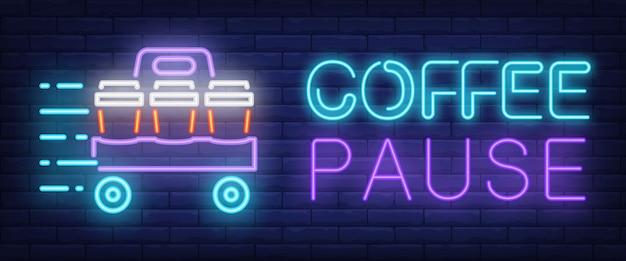 Coffee pause firmare in stile neon Vettore gratuito