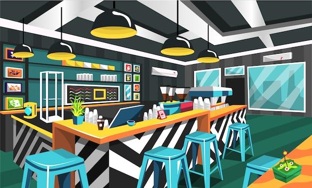 Coffee shop clean modern style Vettore Premium