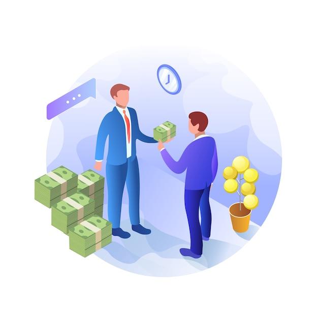 Cognitive banner crime giving bribe isometric. Vettore Premium