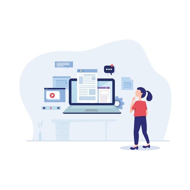 Coinvolgere l'illustrazione piatta di content marketing Vettore Premium