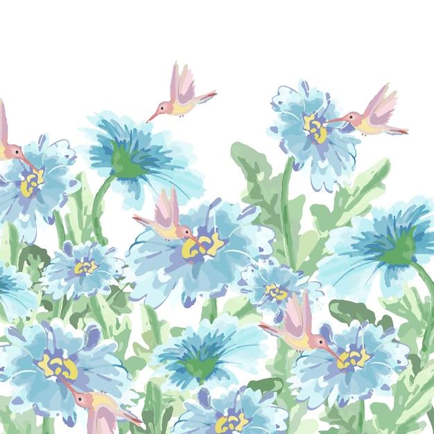 Colibrì sveglio e fiore blu luminoso nel giardino. Vettore Premium
