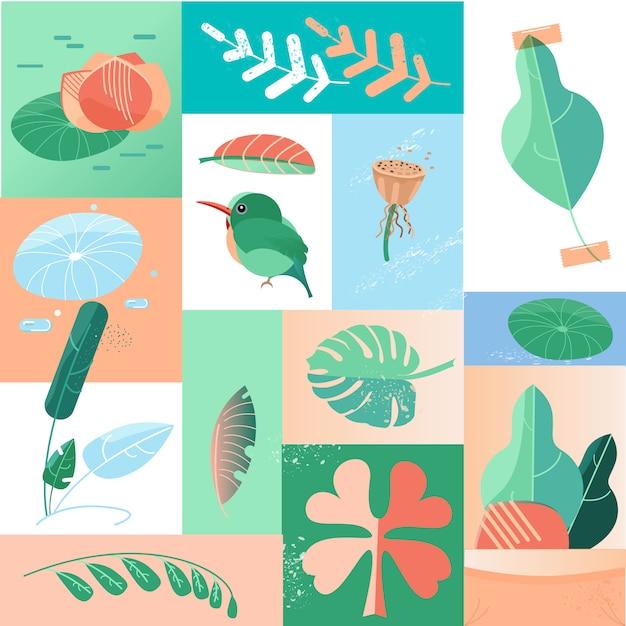 Collage delle icone di giorno tropicale di estate Vettore Premium