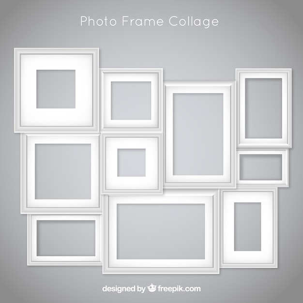 Collage di foto cornice con design piatto Vettore gratuito