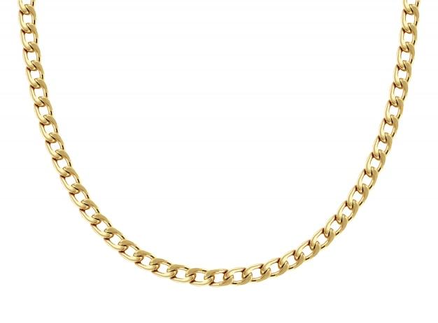 Collana a catena in oro giallo a forma di otto maglie formata a forma semicircolare e mostrata su bianco Vettore Premium