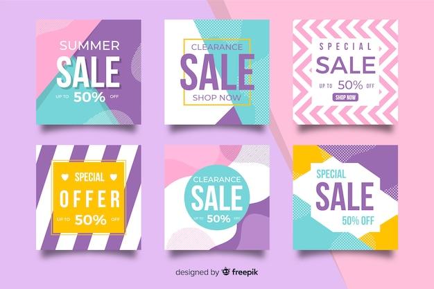 Collectio di banner di social media di vendita di moda Vettore gratuito