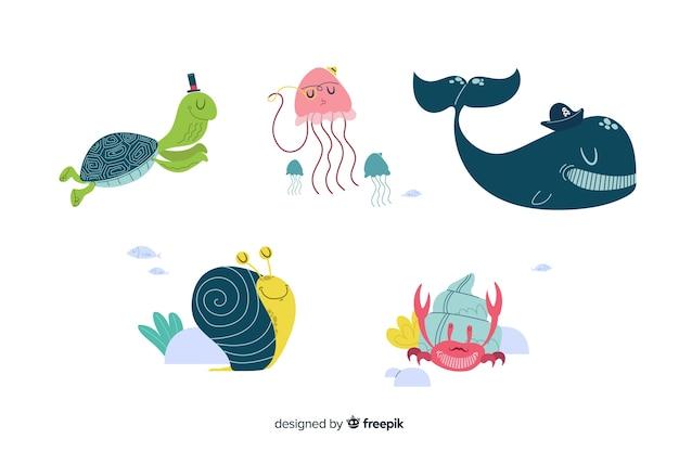 Collectio di carattere di vita marina Vettore gratuito