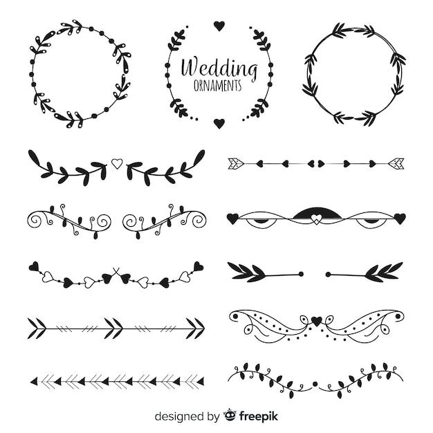 Collectio di ornamento di nozze disegnati a mano Vettore gratuito